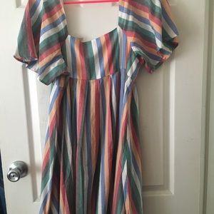 Madewell Square Neck Mini Dress In Festival Stripe